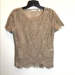 🚨beige lace short sleeve top S